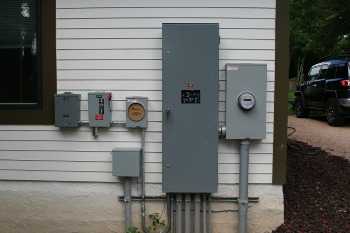 PV electrical components to the left