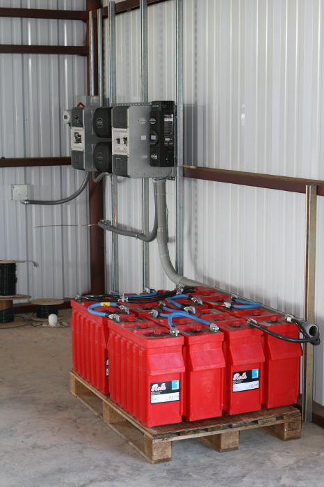 batteries and inverters for converting and storing power